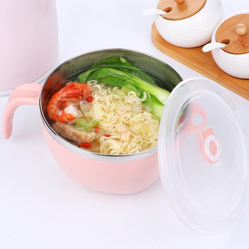 不锈钢泡面碗带盖学生餐